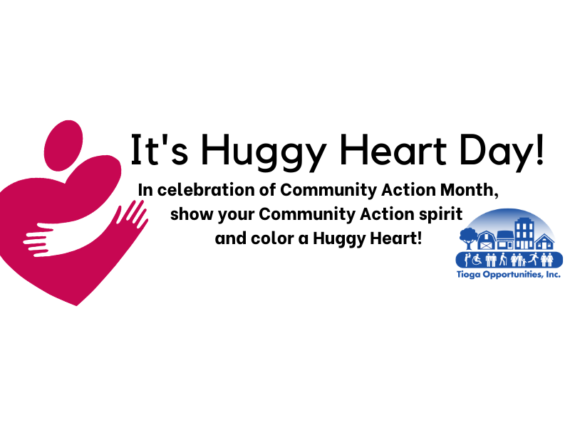 It's National Huggy Heart Day! Color a Huggy Heart for Community Action Month!